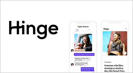 Hinge dating app logo and screenshots