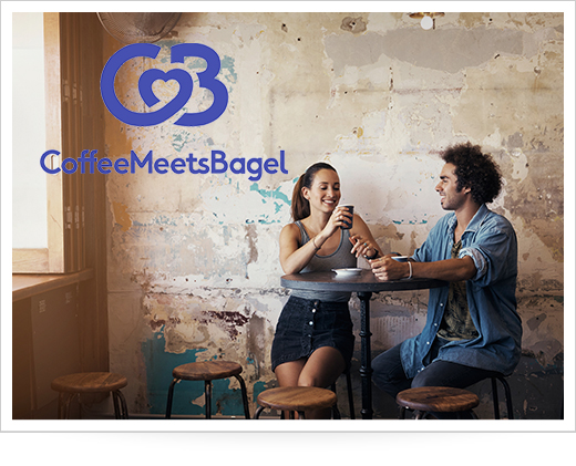 Couple on a date at a cafe with coffee meets bagel logo